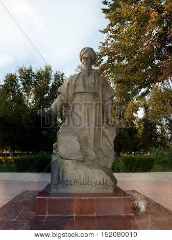 Astrakhan Russia - August 27 2016: The only monument Magtymguly 1724 - 1807 Turkmen spiritual leader and philosophical poet in Russia.