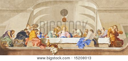 An image of a beautiful religious fresco of the last communion