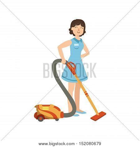 Hotel Professional Maid Cleaning The Floor With Hoover Illustration. Cleaning Lady Tiding Up With Special Inventory Simple Flat Vector Drawing.
