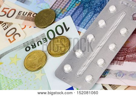 Medical Pills And Tablets In Euro Bank Notes Money