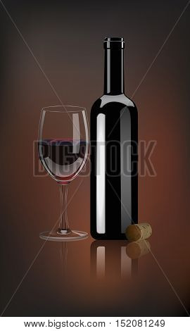 Vector red wine bottle with glass and wine cork on dark background with mirror reflection.