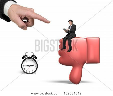 Man Sitting On Thumb Down With Alarm Clock Big Forefinger