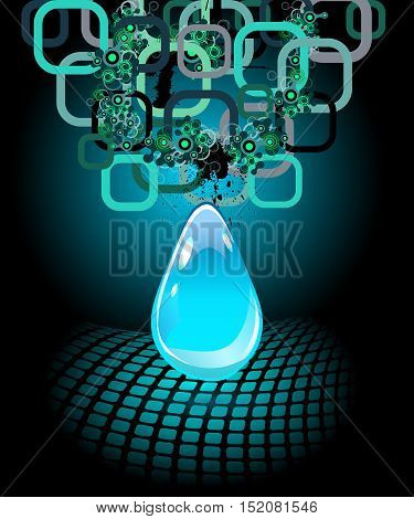 Abstract blue water drop on dark background. Vector creative concept.