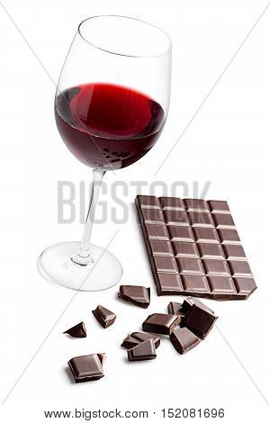 Dark Chocolate Bar and a Glass of Wine