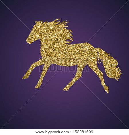 Silhouette Golden, shiny and glittering galloping horse on dark background with place for your text