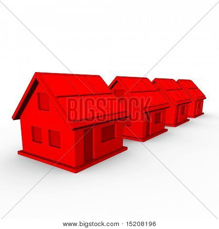 a real estate concept image of 4 red houses in a row