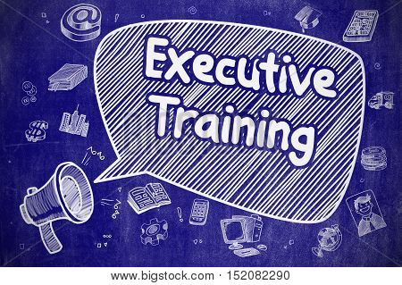 Speech Bubble with Inscription Executive Training Doodle. Illustration on Blue Chalkboard. Advertising Concept.