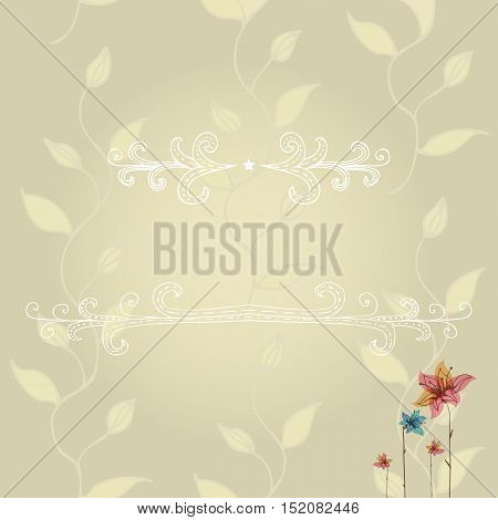 Vector template of greeting card with lace frame, wish inscription on floral background. Vintage art design to make a poster, greeting card, postcard, print. EPS10
