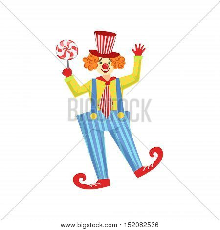 Colorful Friendly Clown With Lollypop In Classic Outfit. Childish Circus Clown Character Performing In Costume And Make Up.