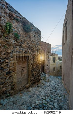 The beautiful Byzantine castle town of Monemvasia in Laconia at sunset, Peloponnese - Greece.
