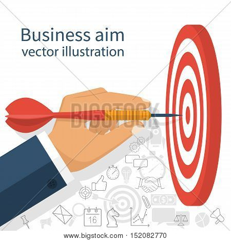 Business achievement success concept. Businessman holding dart hitting the target. Aim in business. Vector illustration flat design.