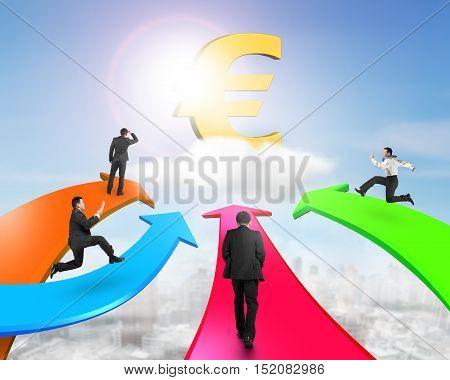 Men On Four Color Arrows Go Toward Golden Euro Symbol
