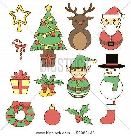 christmas decoration set, doodle collection, merry christmas pastel series