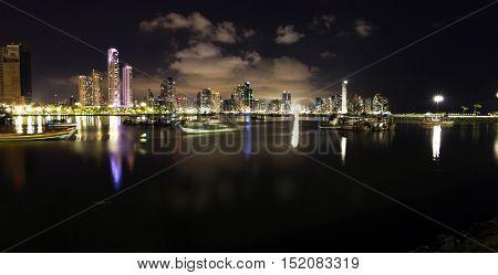 Night Fall In Panama City, Panama