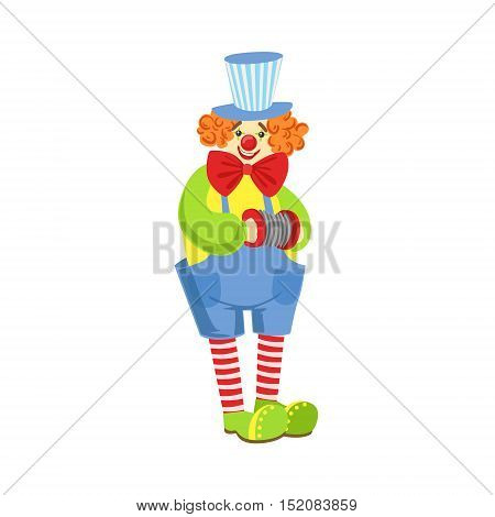 Colorful Friendly Clown With Miniature Accordion In Classic Outfit. Childish Circus Clown Character Performing In Costume And Make Up.