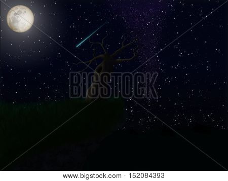 dead tree at night with stars and a full moon