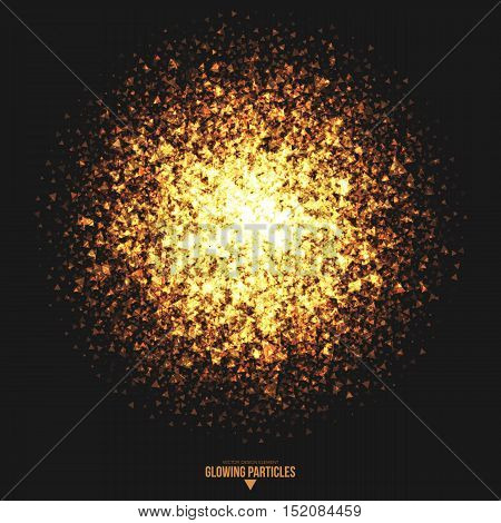 Abstract bright golden shimmer glowing triangular particles vector background. Scatter shine tinsel light explosion effect. Burning sparks. Celebration, holidays and party illustration