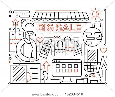 Big sale - vector modern plain line flat design city composition with a storefront and smiling shop assistant