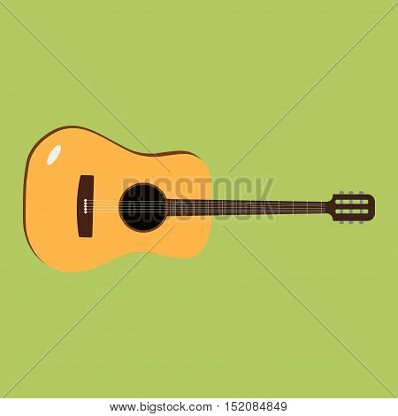 Acoustic guitars strings sound vector instrument flat