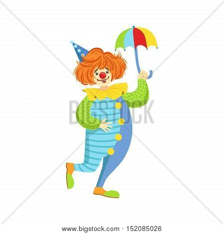 Colorful Friendly Clown With Mini Umbrella In Classic Outfit. Childish Circus Clown Character Performing In Costume And Make Up.