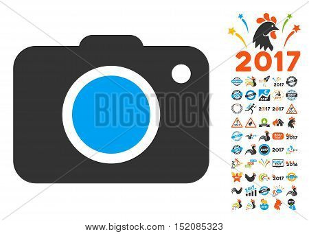 Photo Camera pictograph with bonus 2017 new year pictograms. Vector illustration style is flat iconic symbols, blue and gray colors, white background.