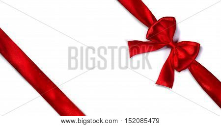 Red Satin Ribbon With Bow On White