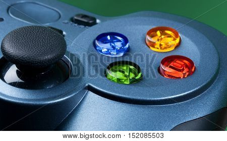 Blue Gamepad with Colored Buttons - Close Up