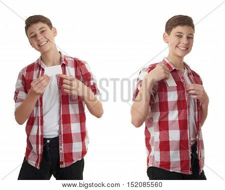 Set of cute teenager boy in red checkered shirt with small paper card over white isolated background, half body