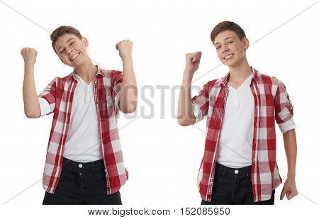 Set of cute teenager boy in red checkered shirt with success gesture over white isolated background, half body