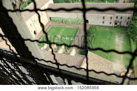 Top View From The Bell Tower Of The Abbey Pomposa  In Central Italy
