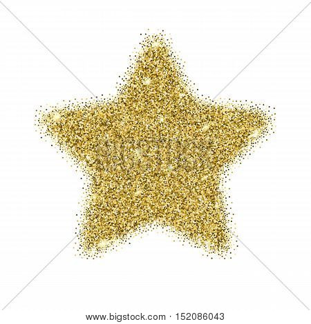 Icon of Five-pointed star with gold sparkles and glitter, glow light confetti, bright sequins, sparkle tinsel, shimmer dust. Five-pointed star sign isolated on white background