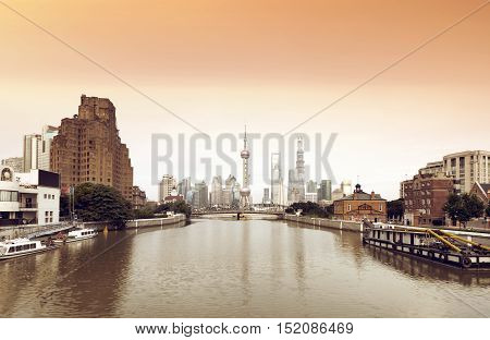 China Shanghai Bund Lujiazui financial district panorama.
