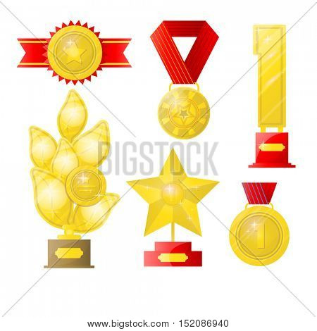 Award Set of trophies, medals, cup and trophy, icons and ribbons for winners in competitions. Award Icons in flat style. Isolated award illustrations