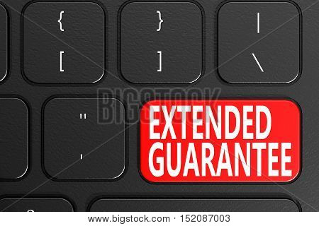 Extended Guarantee on black keyboard 3D rendering