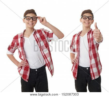 Set of cute teenager boy in red checkered shirt and glasses over white isolated background, half body