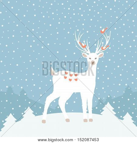 Cristmas background with magic Deer. Vector illustration.