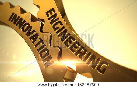 Engineering Innovation on the Golden Cogwheels. Golden Gears with Engineering Innovation Concept. 3D Render.