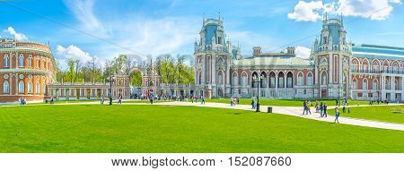 MOSCOW RUSSIA - MAY 10 2015: The Tsaritsyno Royal Residence is one of the most interesting city landmarks fine place to spend here day enjoying landmarks and nature on May 10 in Moscow.