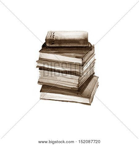 Watercolor old books. Isolated on white background.