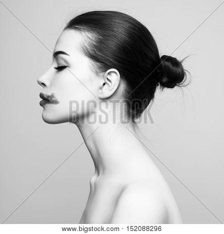 Fashion Beautiful Woman With Smeared Lipstick In Profile