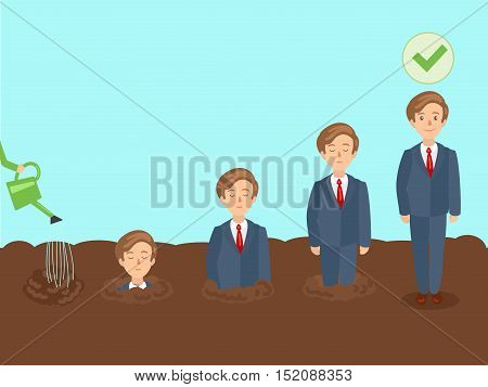 Professional growth of employee. Business metaphor. Personnel training. Colorful hand drawn cartoon vector illustration