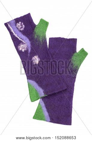 Mitts of felted wool on a white background