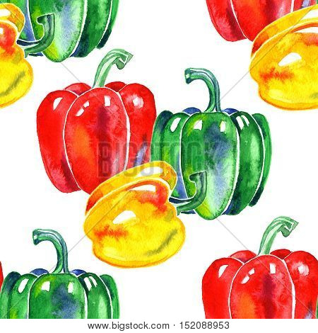 Watercolor hand drawn seamless pattern with yellow red and green bell pepper. eco food illustration.