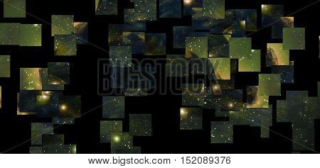 mystical cosmic scenery in mosaic structure, black background