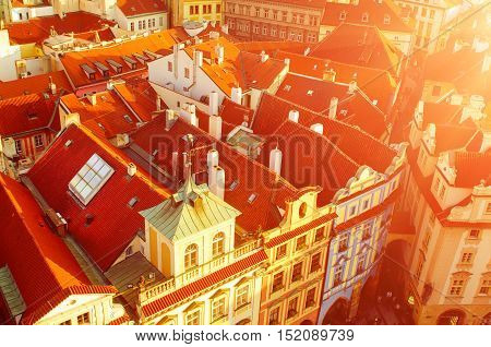 Red Prague roofs - view from the City Hall, travel european sunny background