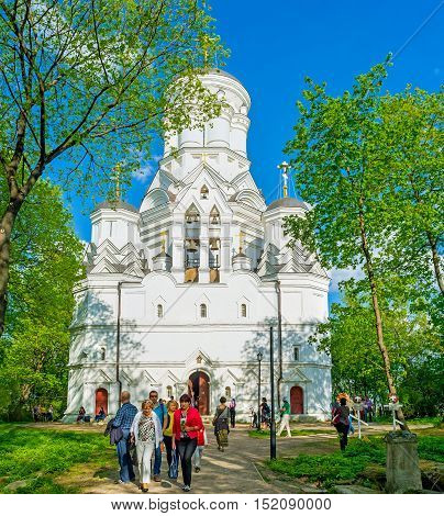 MOSCOW RUSSIA - MAY 10 2015: The white facade of Church of John the Baptist located at the top of Dyakovo hill in Kolomenskoye Royal Estate on May 10 in Moscow.