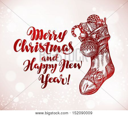 Merry Christmas and Happy New Year. Xmas sock with gifts sketch. Vector