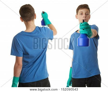 Set of cute teenager boy in blue T-shirt and green rubber gloves with spray tool over white isolated background from back, half body, cleaning concept