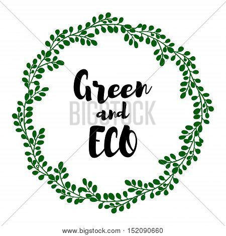 Isolated abstract round shape green color plant vector . Circular wreath illustration. Agricultural industry element. on white background grouped and isolated