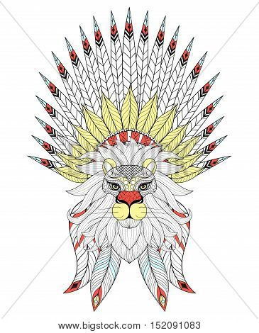 Vector zentangle Lion with War Bonnet. American native headdress with color feathers for adult coloring pages, ethnic patterned t-shirt print, tattoo design. Boho chic style. Doodle Illustration.